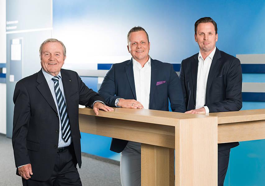 Geschäftsleitung: Dipl.-Ing. Heinz Schmersal, Dipl. Wirtsch.-Ing. Philip Schmersal, Dipl.-Oec. Michael Ambros (v.l.)